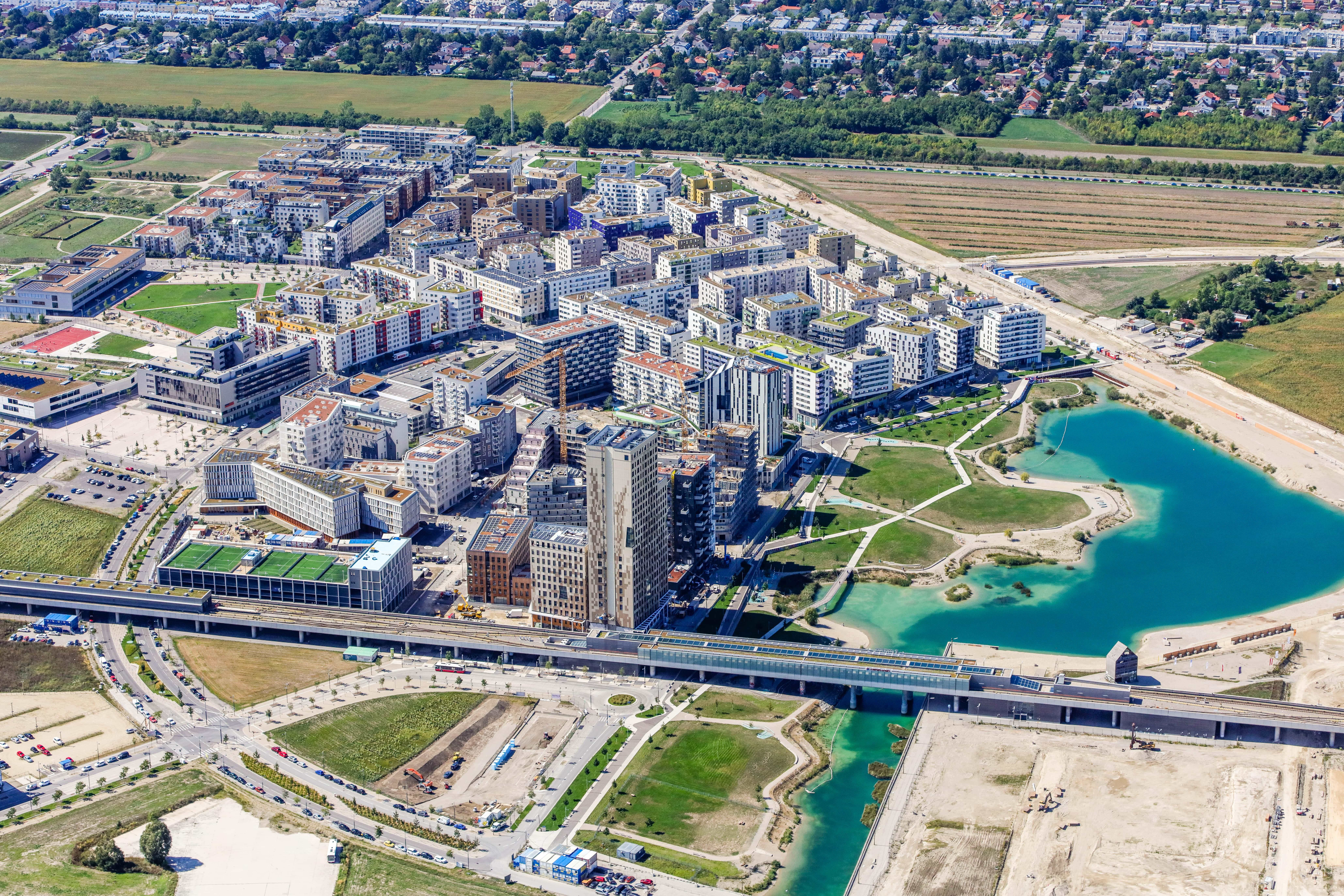 Luftaufnahme der Seestadt-Aspern.