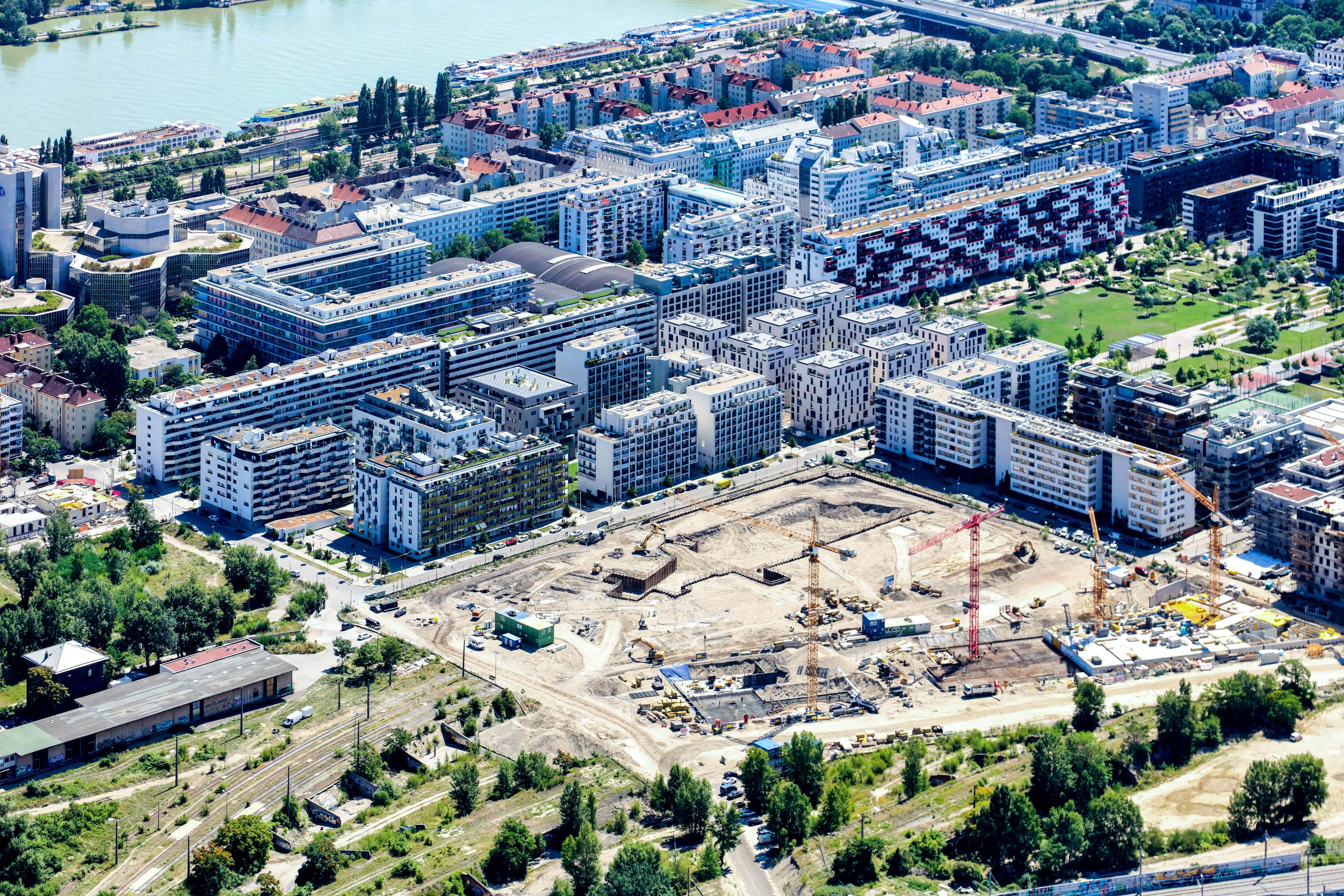 Baustelle für ein großes Wohnprojekt.